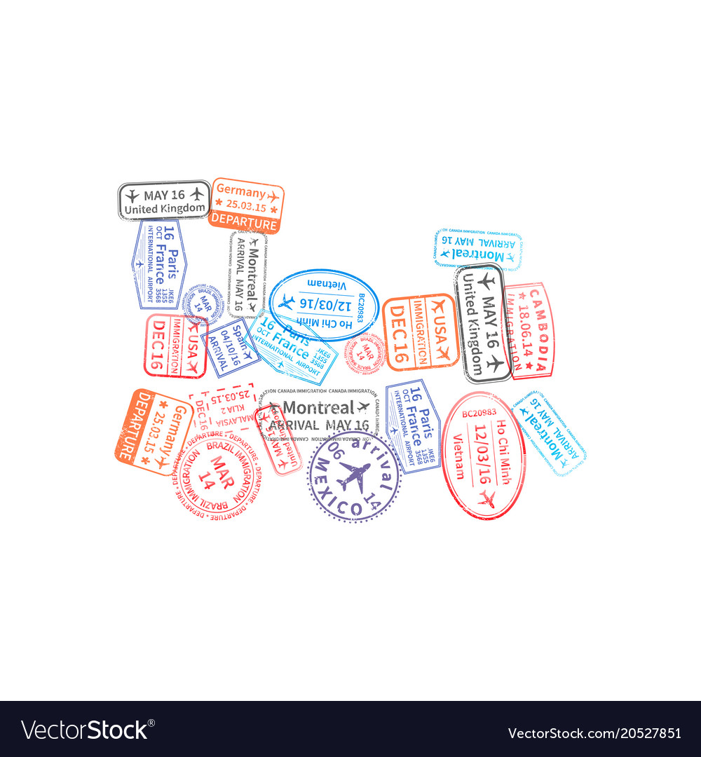 Bright colorful immigration stamps arranged in