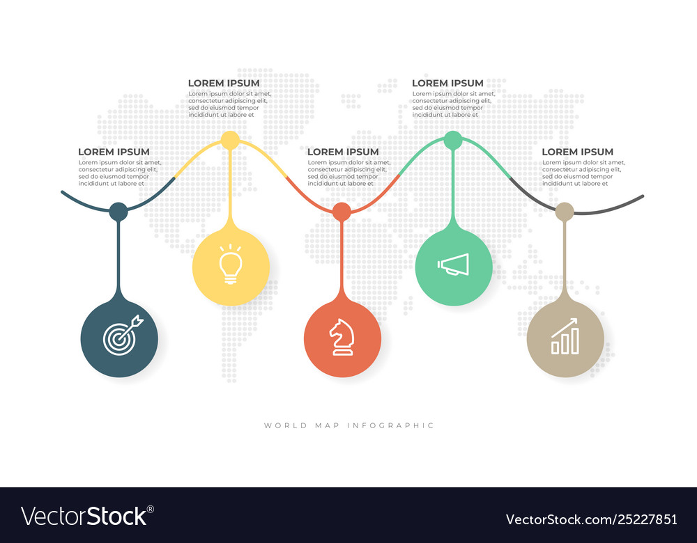 Business timeline with 5 options infographic