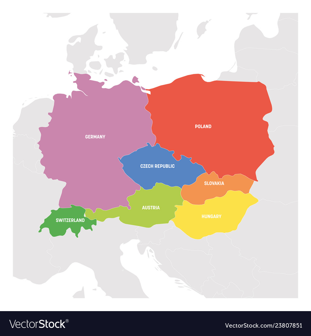 Central europe region colorful map of countries