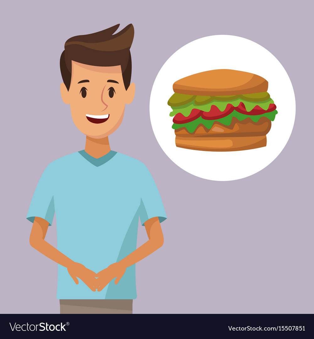 Colorful poster half body man and icon hamburger vector image