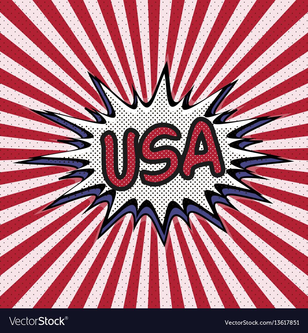 Declaration of usa pop art comic speech bubble usa