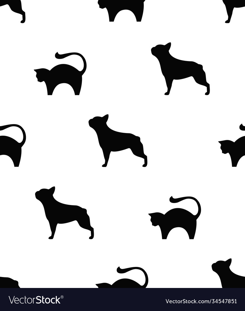 Frenchie and cat seamless pattern