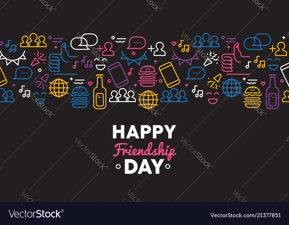 Friendship day fun card with friend party icons