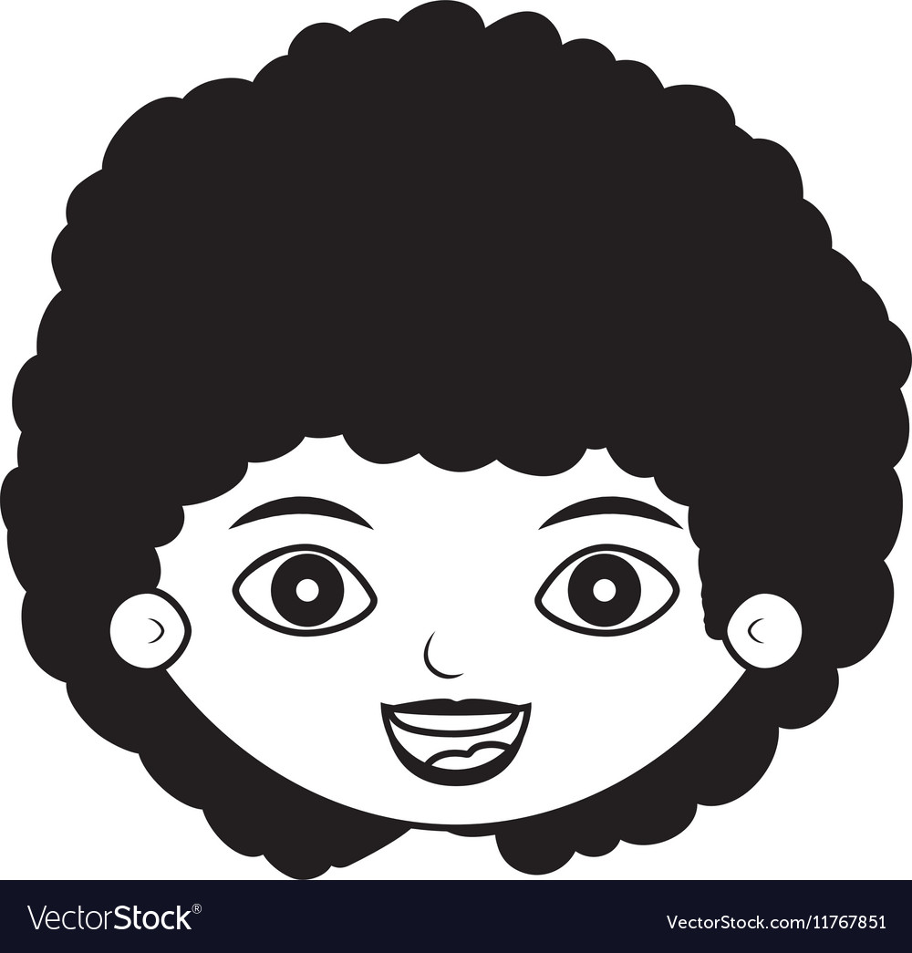 Front face girl silhouette with curly black hair vector image