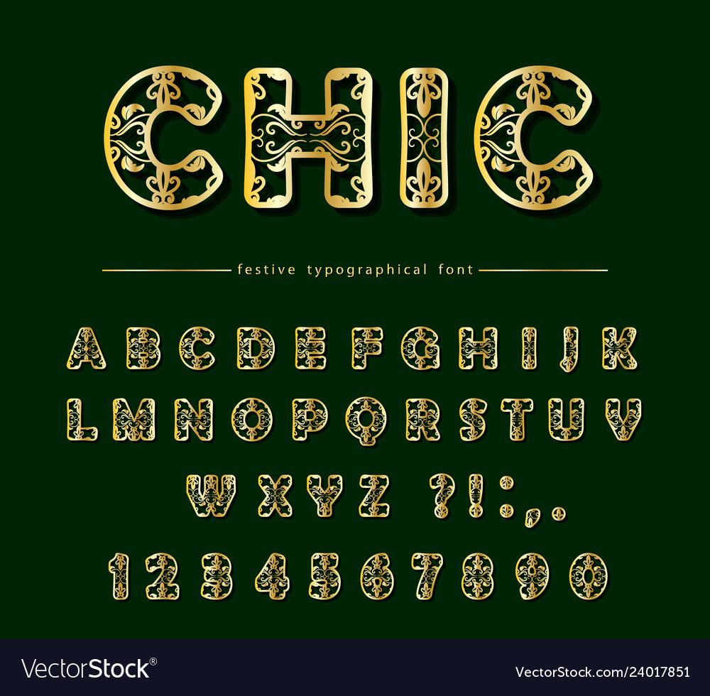 Golden cut out decorative font laser cutting