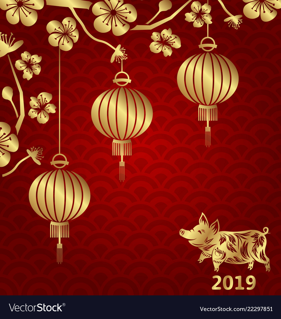 Happy oriental card for chinese new year 2019