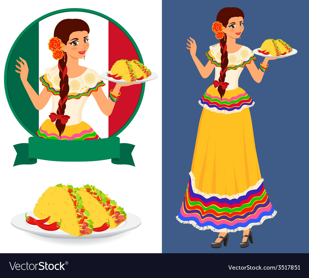 mexican girl with taco royalty free vector image