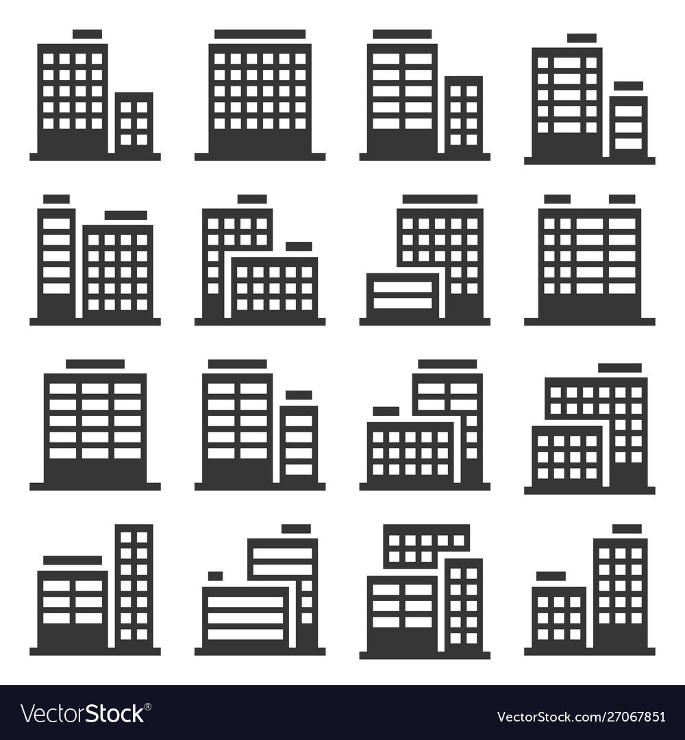 Office building icons set on white background vector