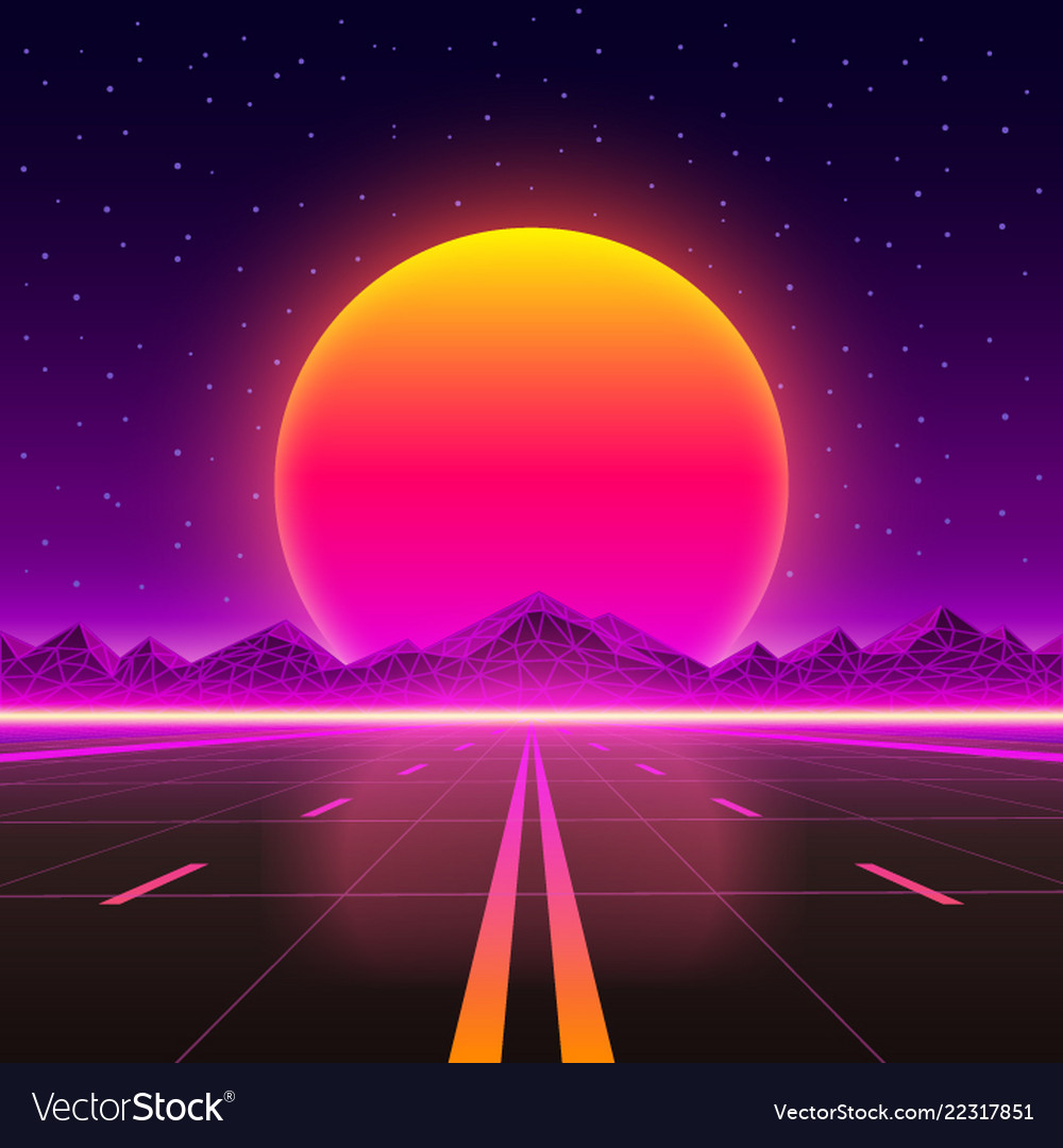 Road to infinity at sunset