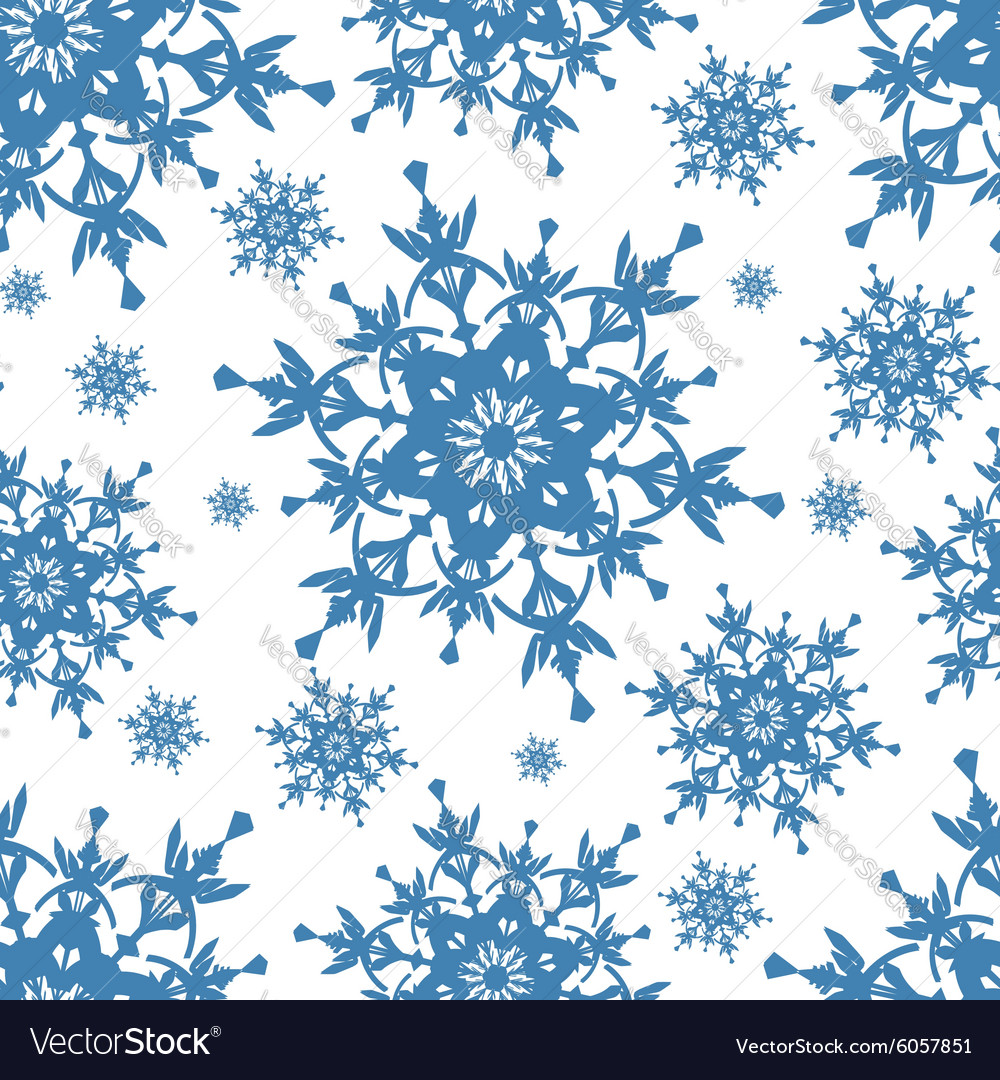 Seamless pattern texture with blue snowflakes
