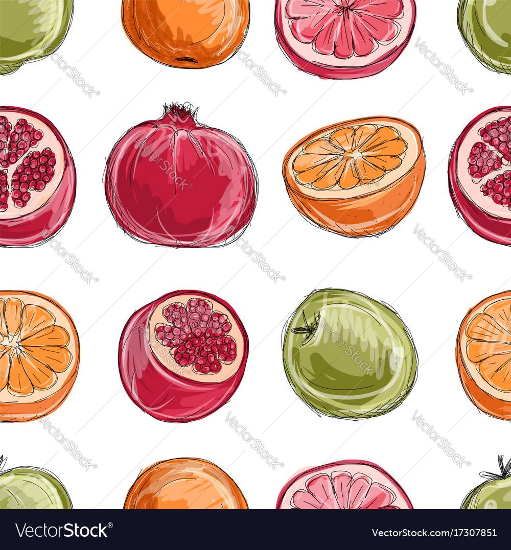 Set of fruits sketch for your design
