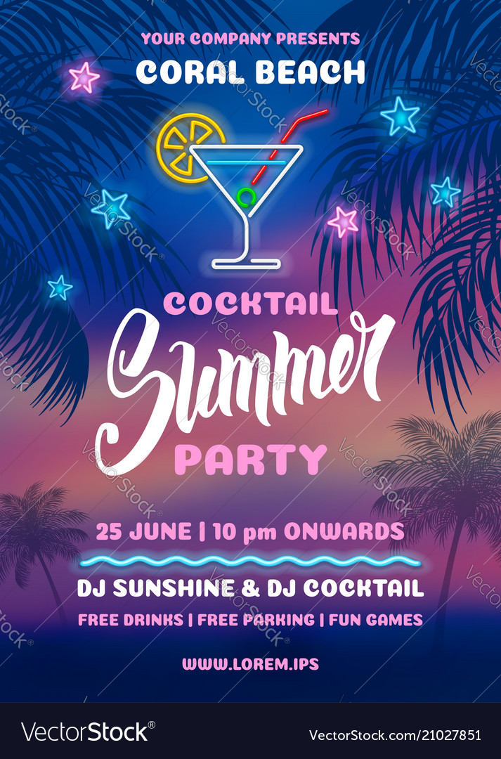 Summer night party poster template