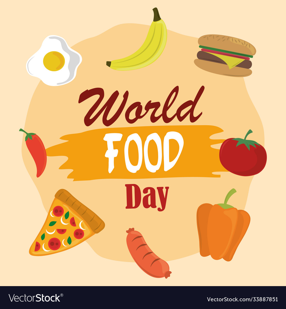 World food day vegetable fruits burger pizza