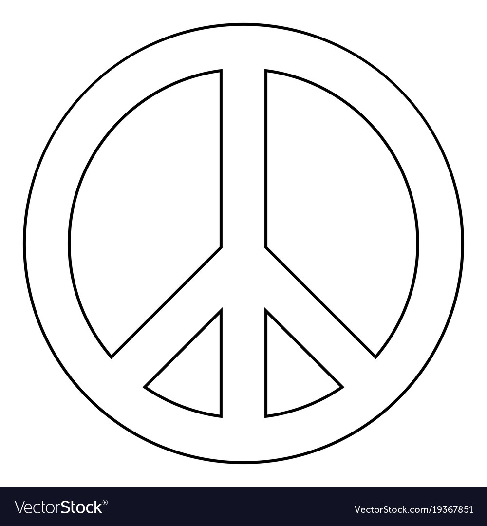 World Peace Sign Symbol Icon Black Color Vector Image On Vectorstock