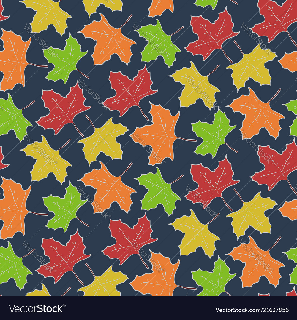 Autumn pattern with falling maple leaves