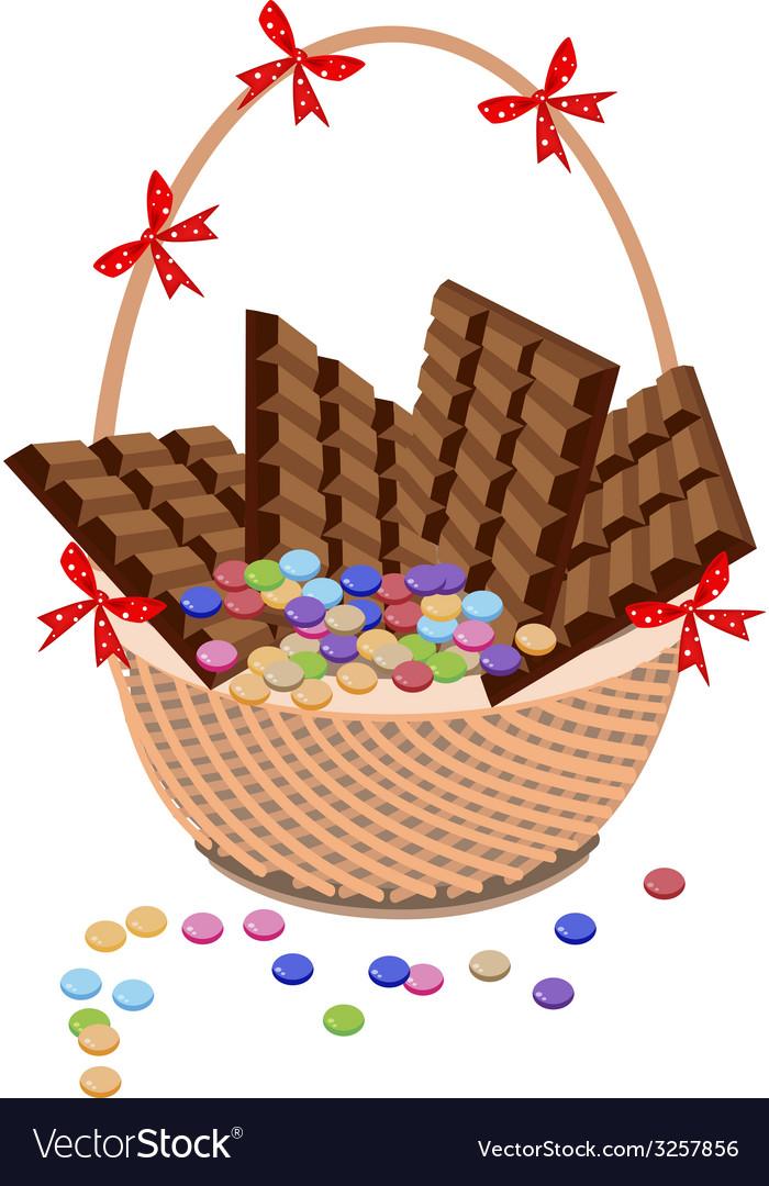 Brown Basket of Milk Chocolate and Chocolates Bar vector image