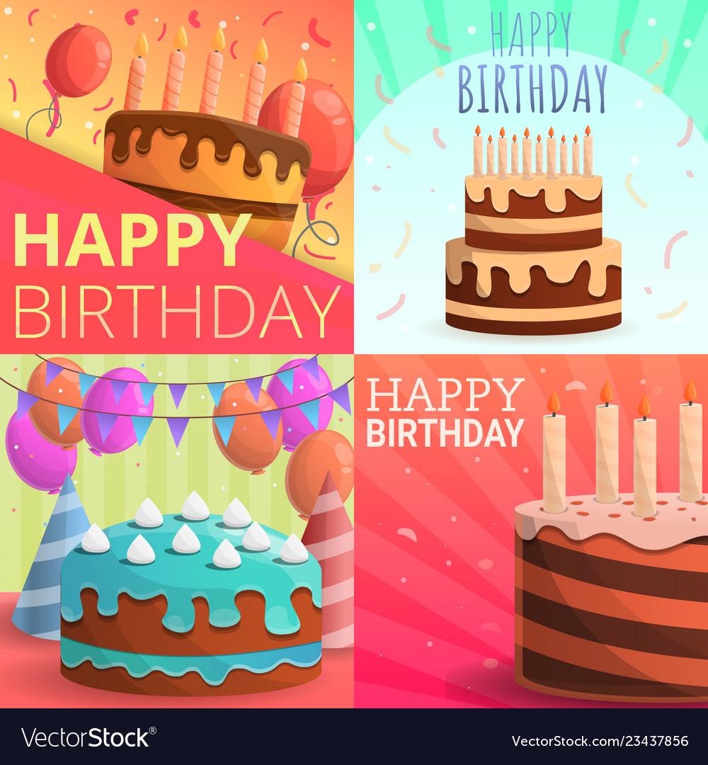 Outstanding Cake Happy Birthday Banner Set Cartoon Style Vector Image Birthday Cards Printable Opercafe Filternl
