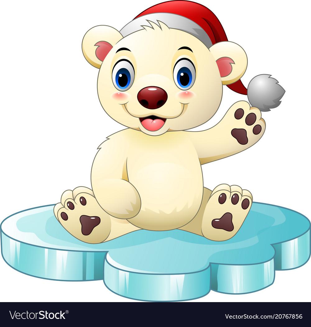 Cartoon baby polar bear waving hand
