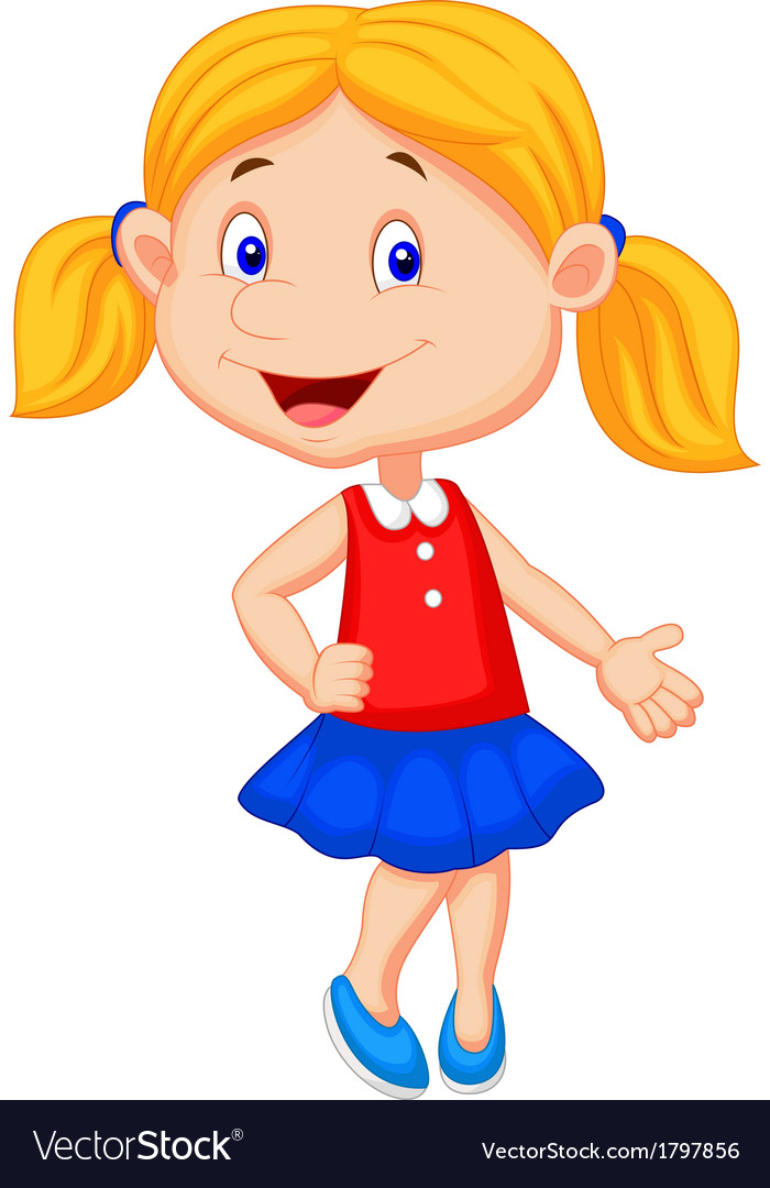 Cute girl cartoon presenting vector image