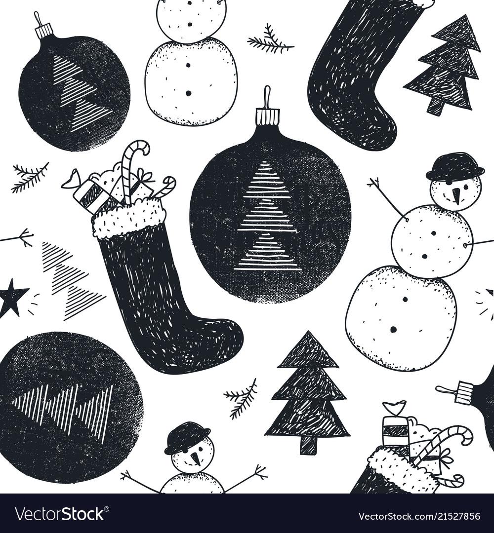 Hand drawn christmas new year winter