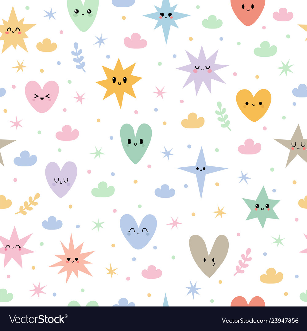 Hand drawn seamless pattern with stars hearts and