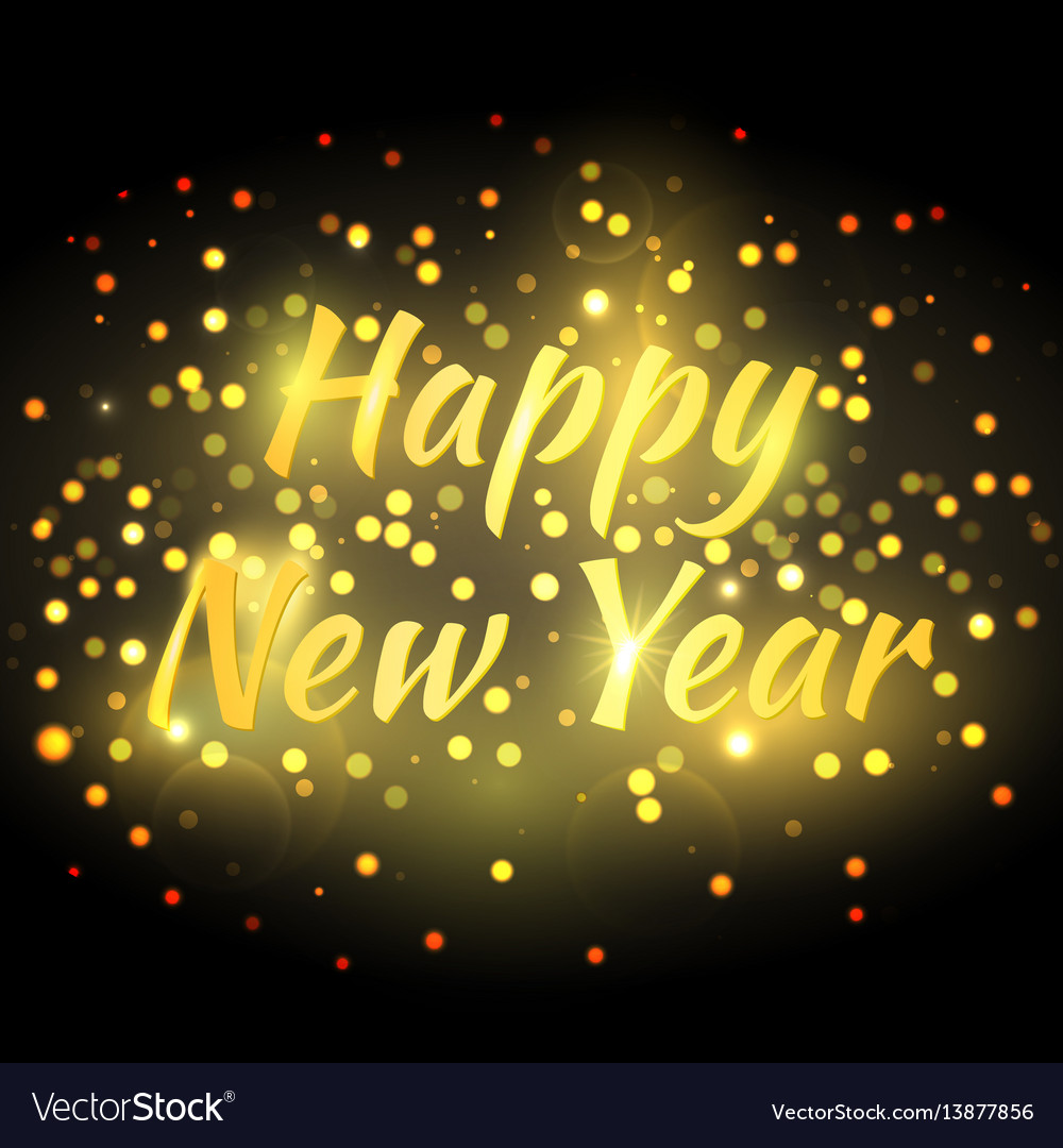 Happy New Year Greeting Card With Magic Glitter Vector Image
