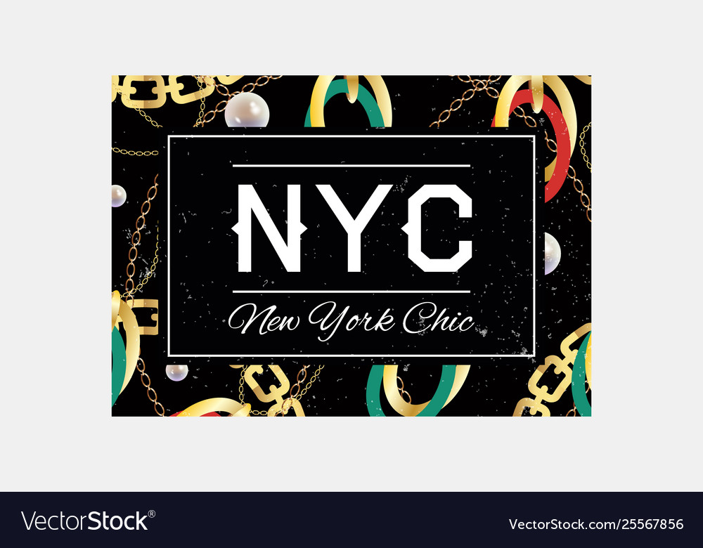 Nyc slogan typography on gold chain pattern