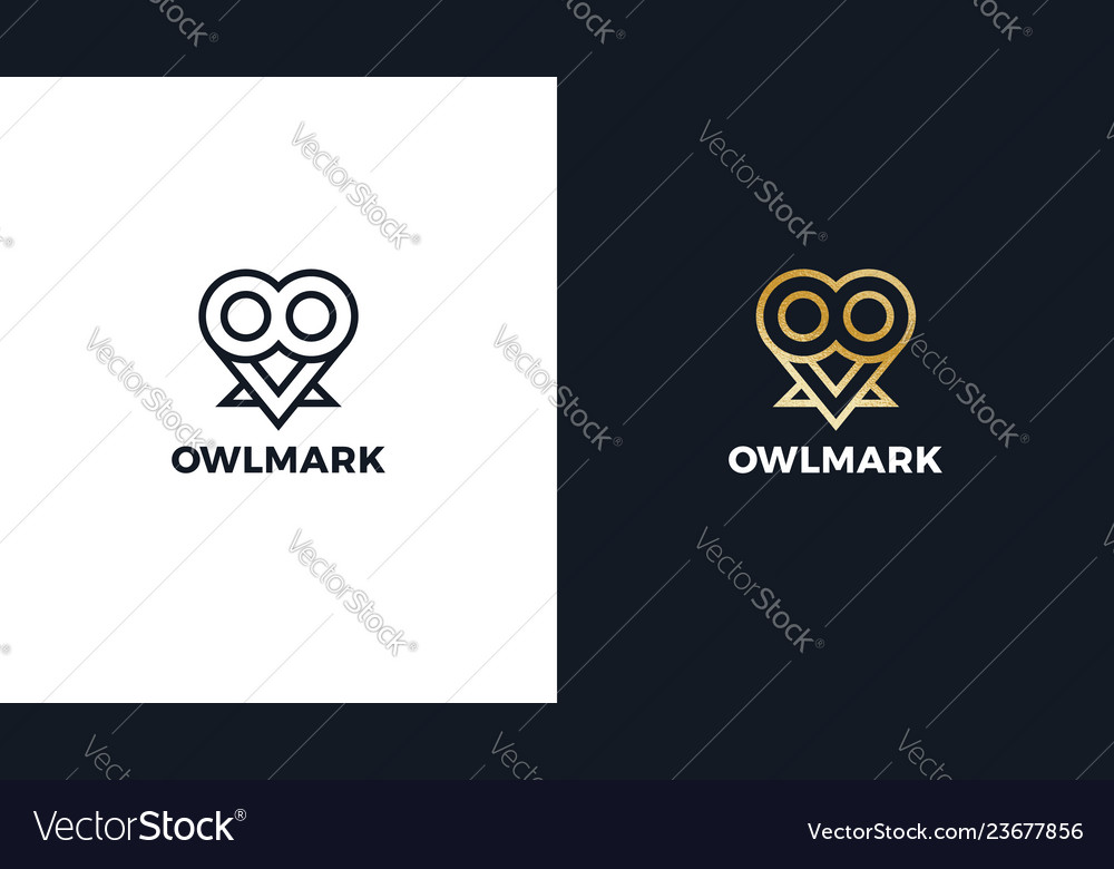 Owl logotype template positive and negative