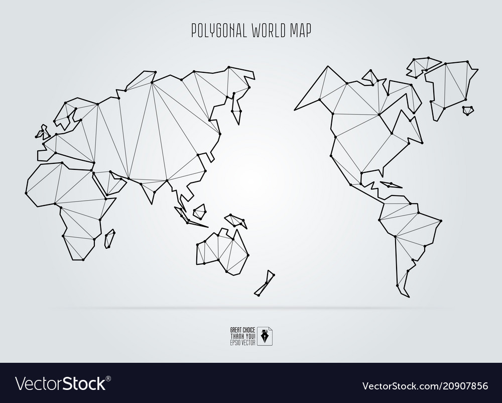 Polygonal abstract world map asia in the center
