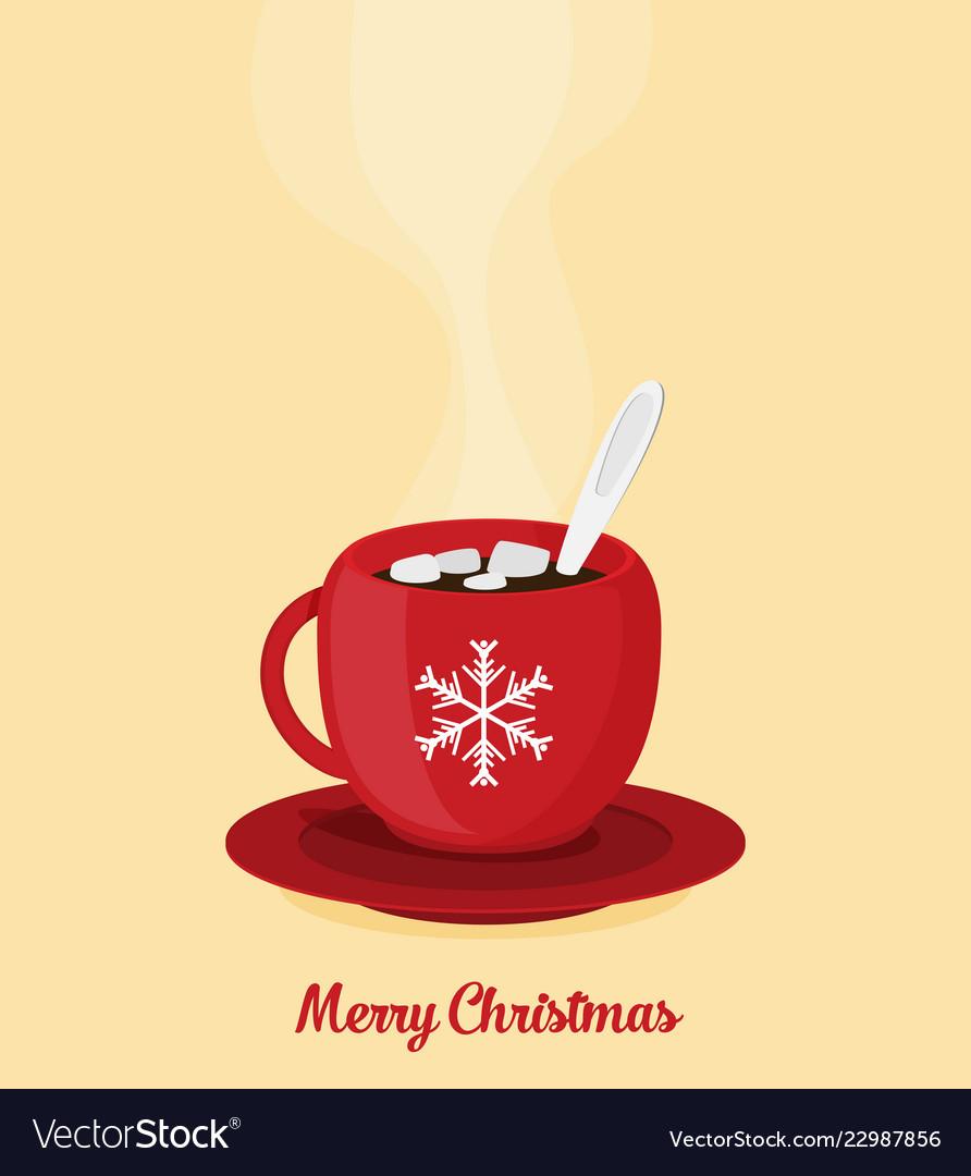 Red Christmas Coffee Mug Royalty Free Vector Image