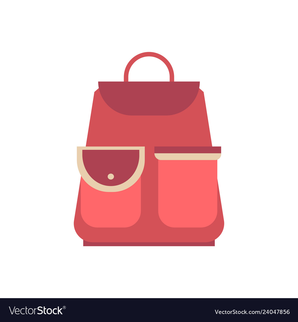 Red school backpack in flat style backpack