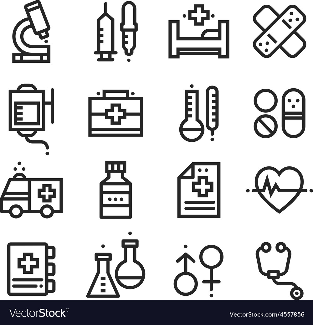 Science and Medical icons stock vector image