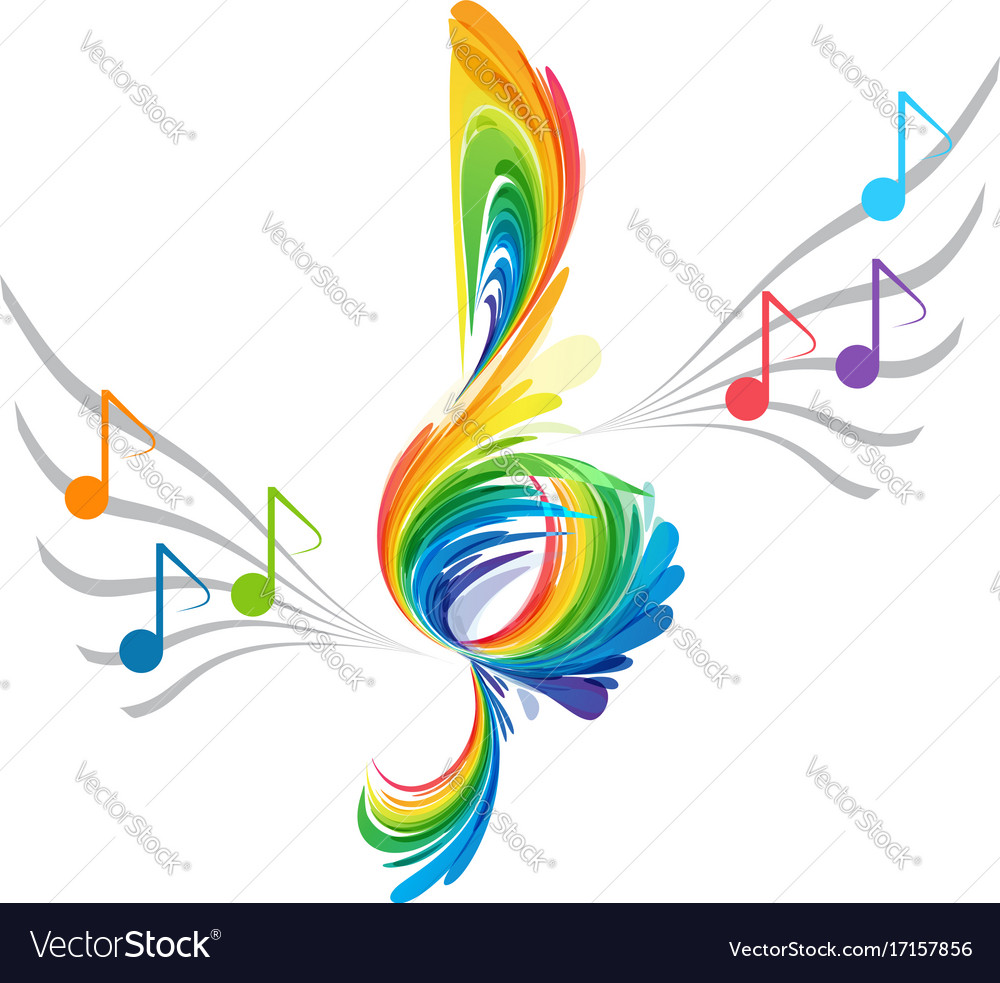 Splash treble clef and musical note