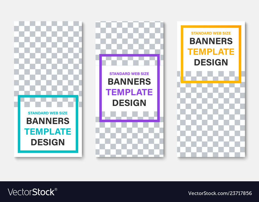 Template of white vertical web banners with place