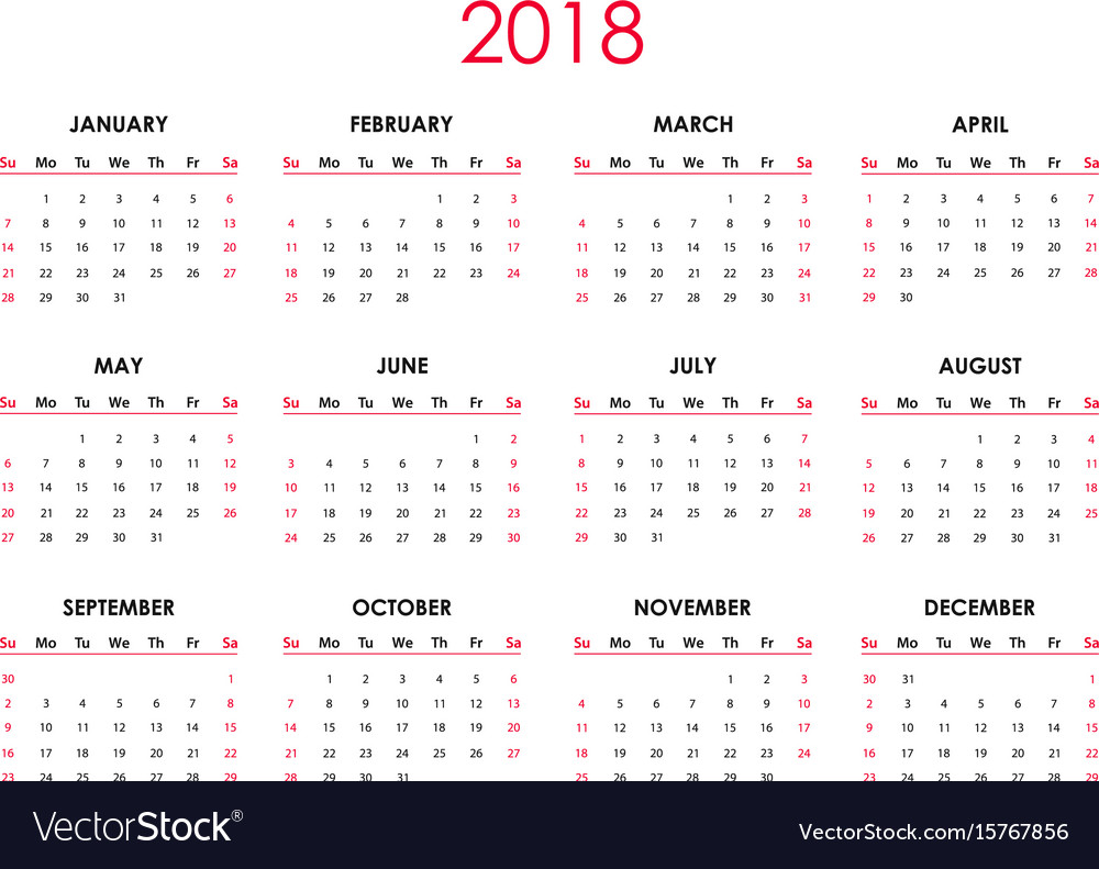 the 2018 calendar vector image