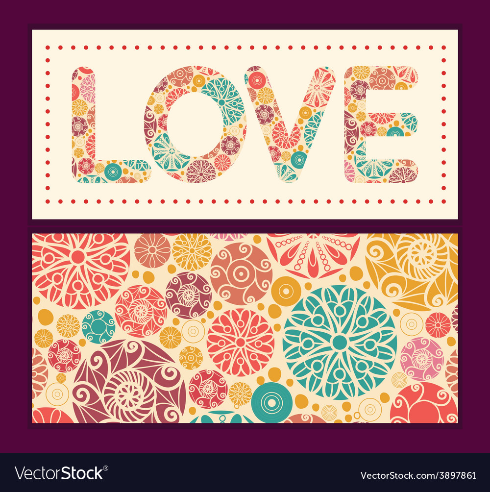Abstract decorative circles love text frame