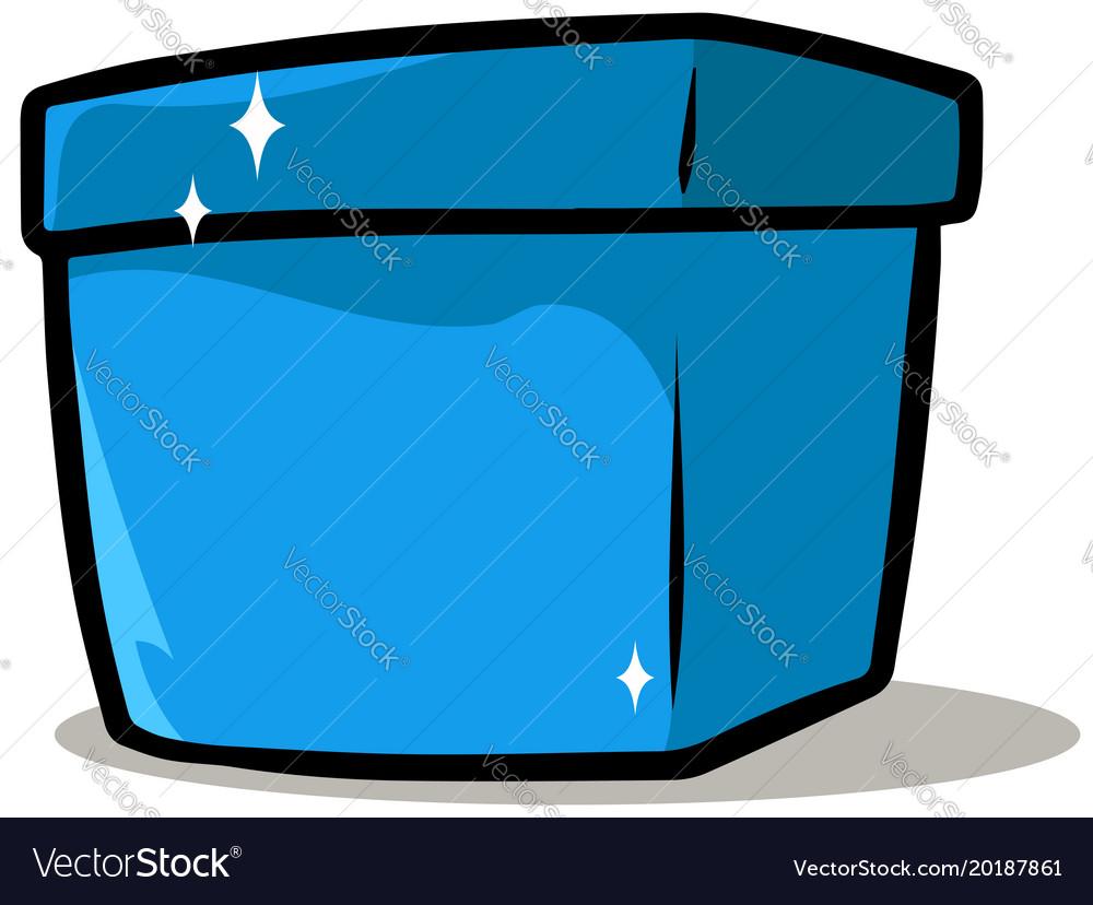 Cartoon shiny blue present gift box