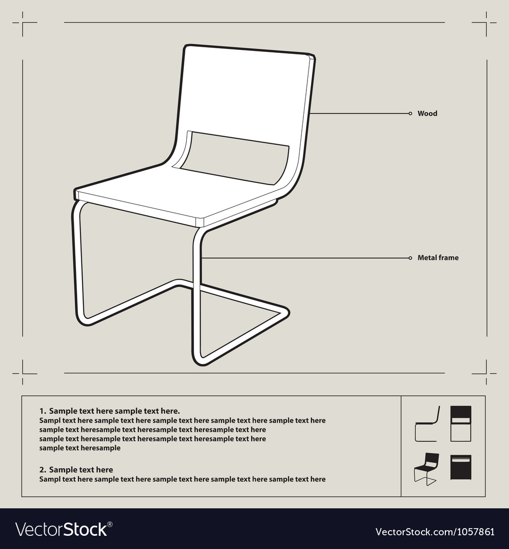 chair blueprint background royalty free vector image