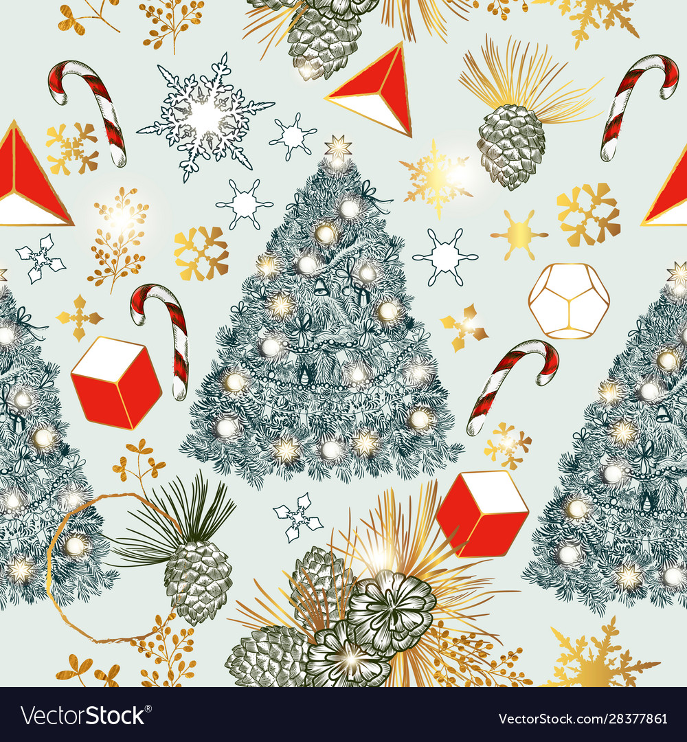 Christmas seamless pattern with fur tree branches