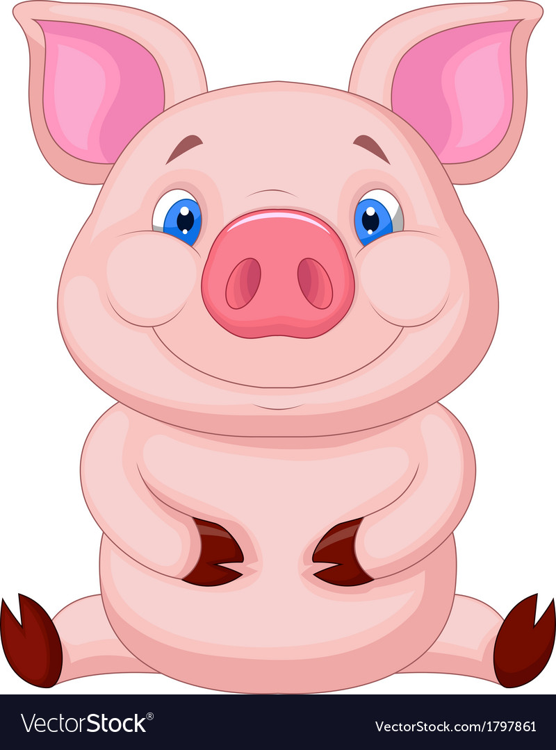 Cute baby pig cartoon sitting vector image