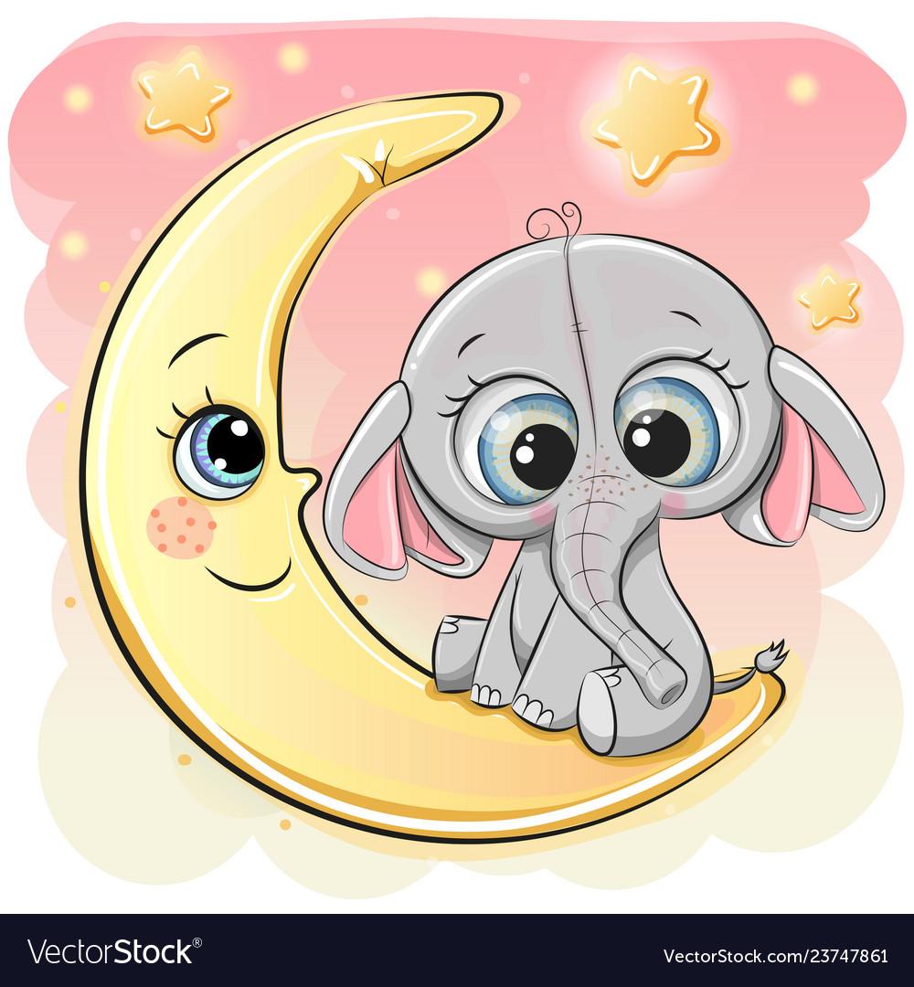 Cute cartoon elephant on the moon Royalty Free Vector Image