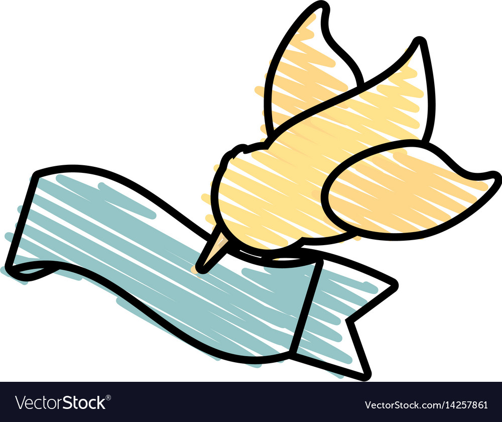 Dove Flying With Ribbon Symbol Image Royalty Free Vector