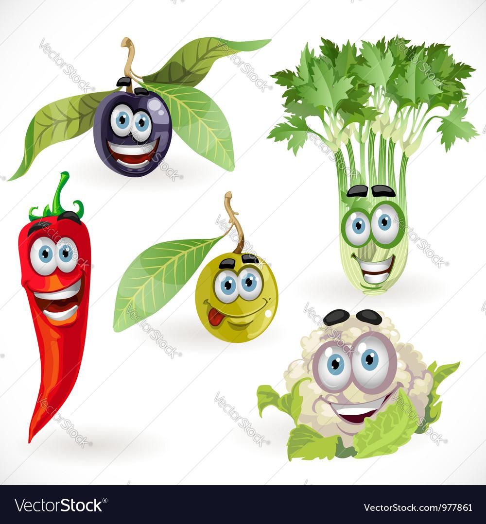 Funny cute vegetables smiles celery cauliflower