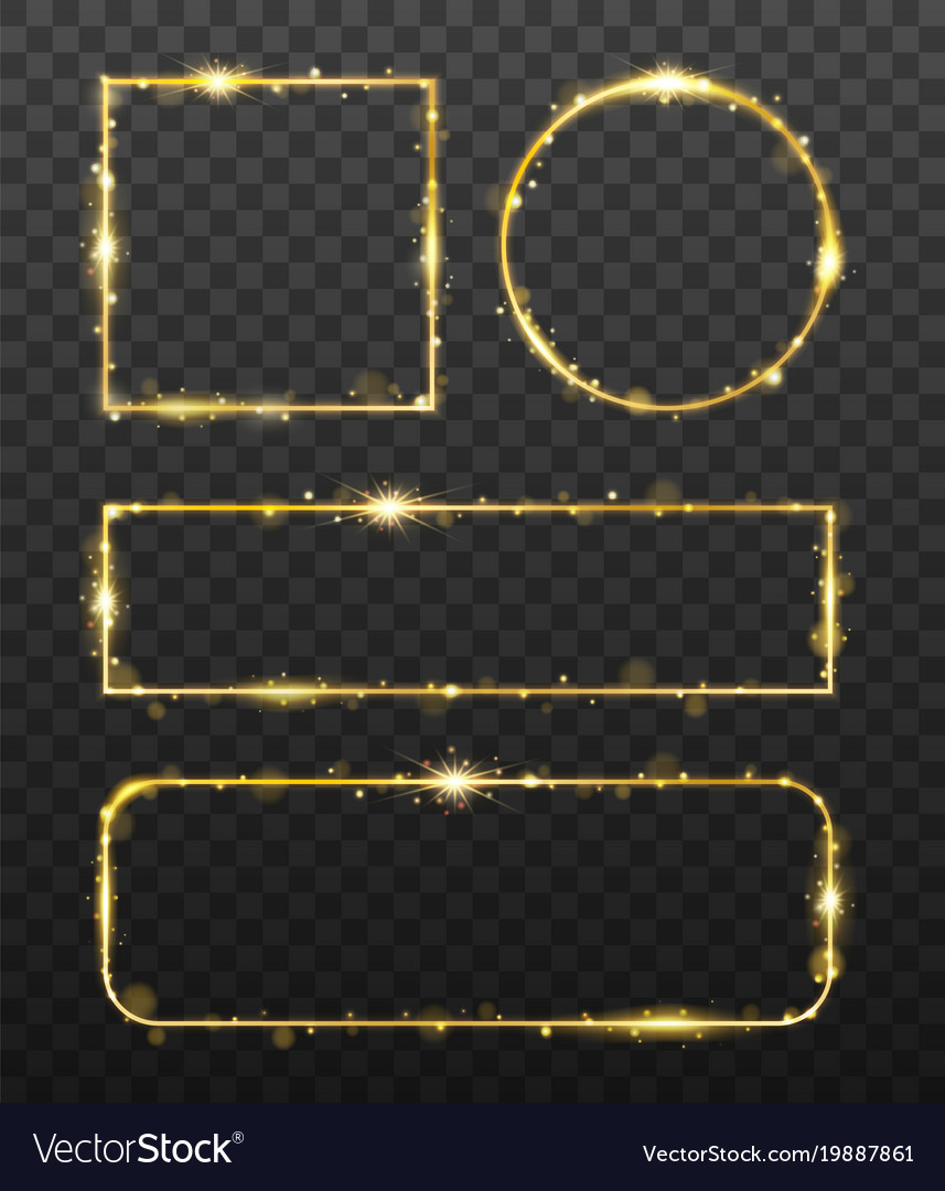 Golden glowing frames with shiny gold sparks