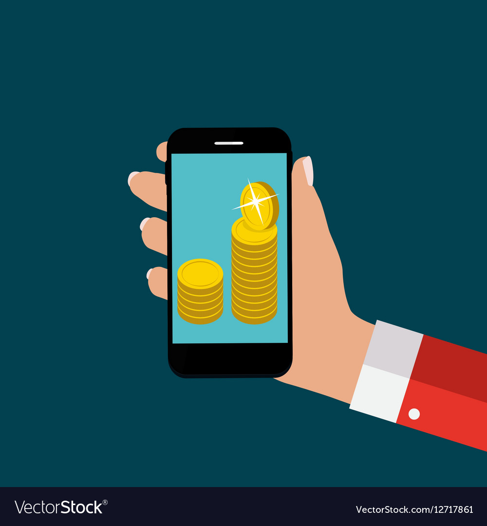 Hand with Abstract Phone and Mobile Payment