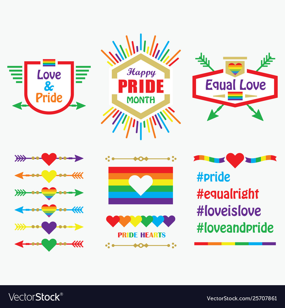 Happy pride month icons flags emblems set