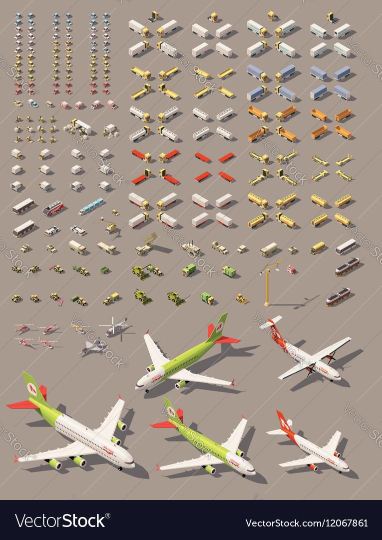 Isometric low poly transport set