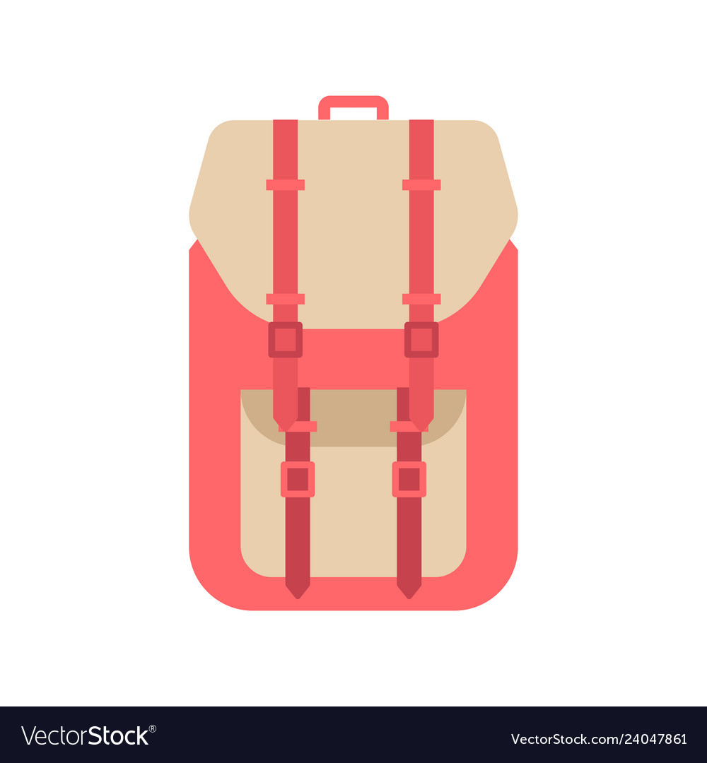 Red school backpack in flat style backpack with