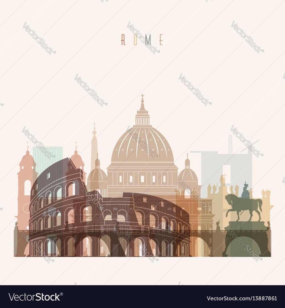 Rome skyline detailed silhouette vector image