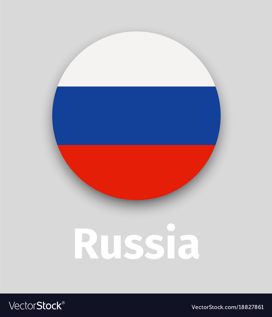Russian flag round icon with shadow